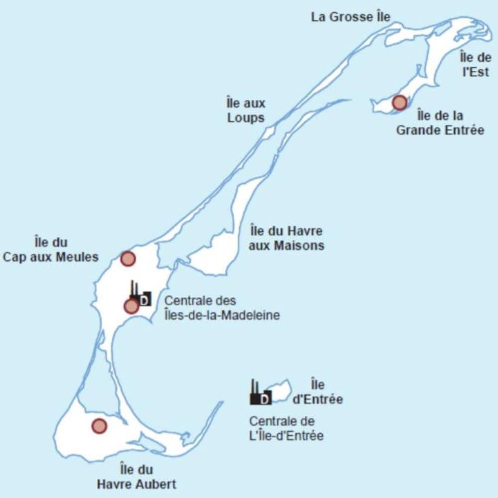Une carte des îles de la Madeleine avec deux points sur l'île du Cap aux Meules, un sur l'île du Havre Aubert et une sur l'île de la Grande Entrée.