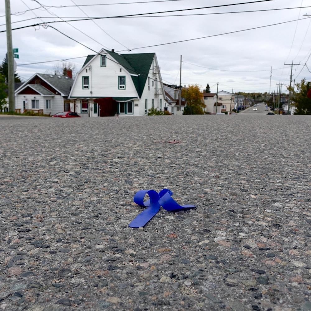 Un garrot traîne au milieu de la chaussée.