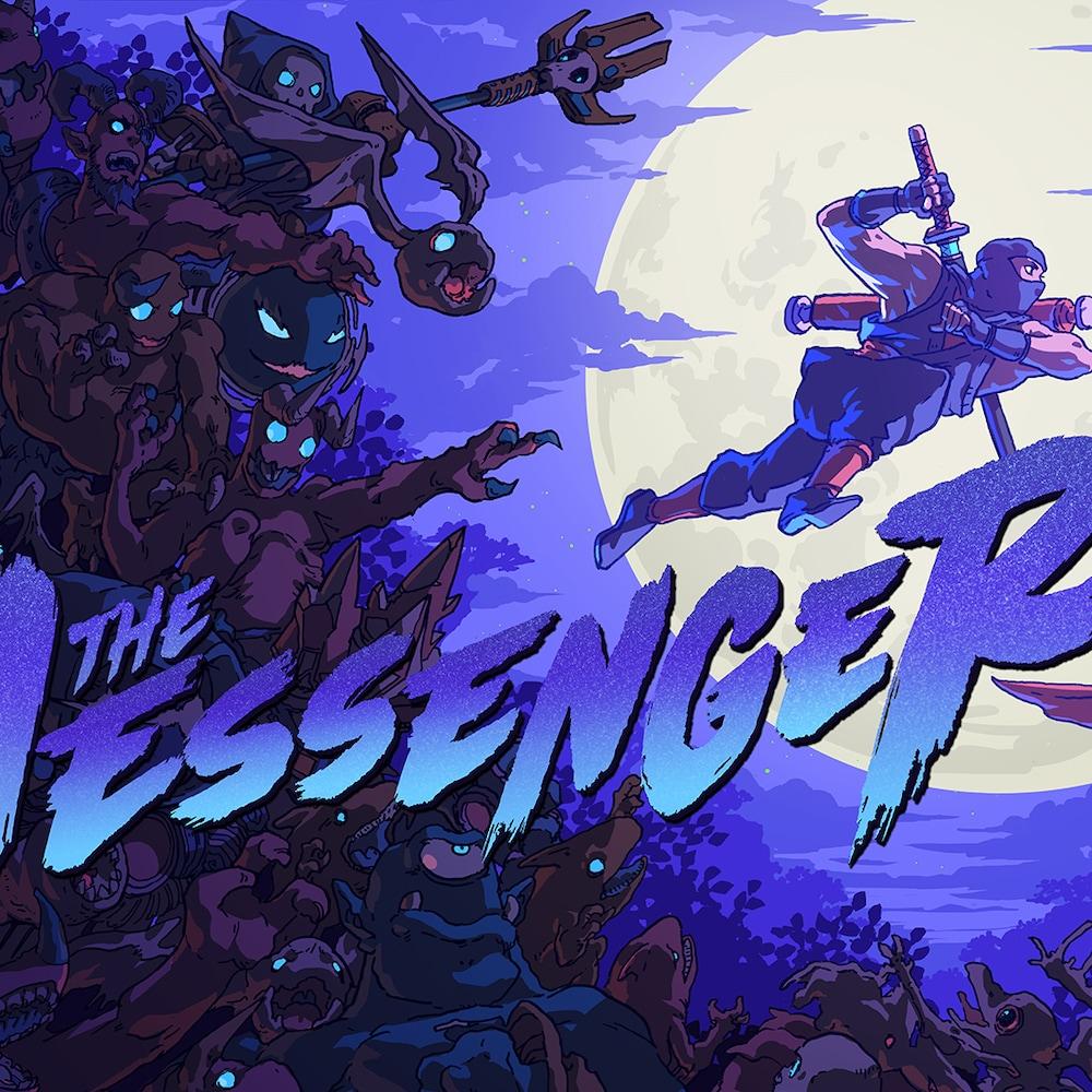 """Art promotionnelle pour la sortie du jeux vidéo. On voit l'écriture """"The Messenger"""" en mauve sur un fond de science fiction."""