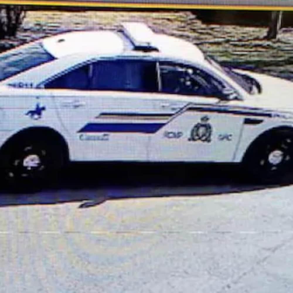 Une photo tirée d'une vidéo de surveillance montrant une autopatrouille de la GRC.