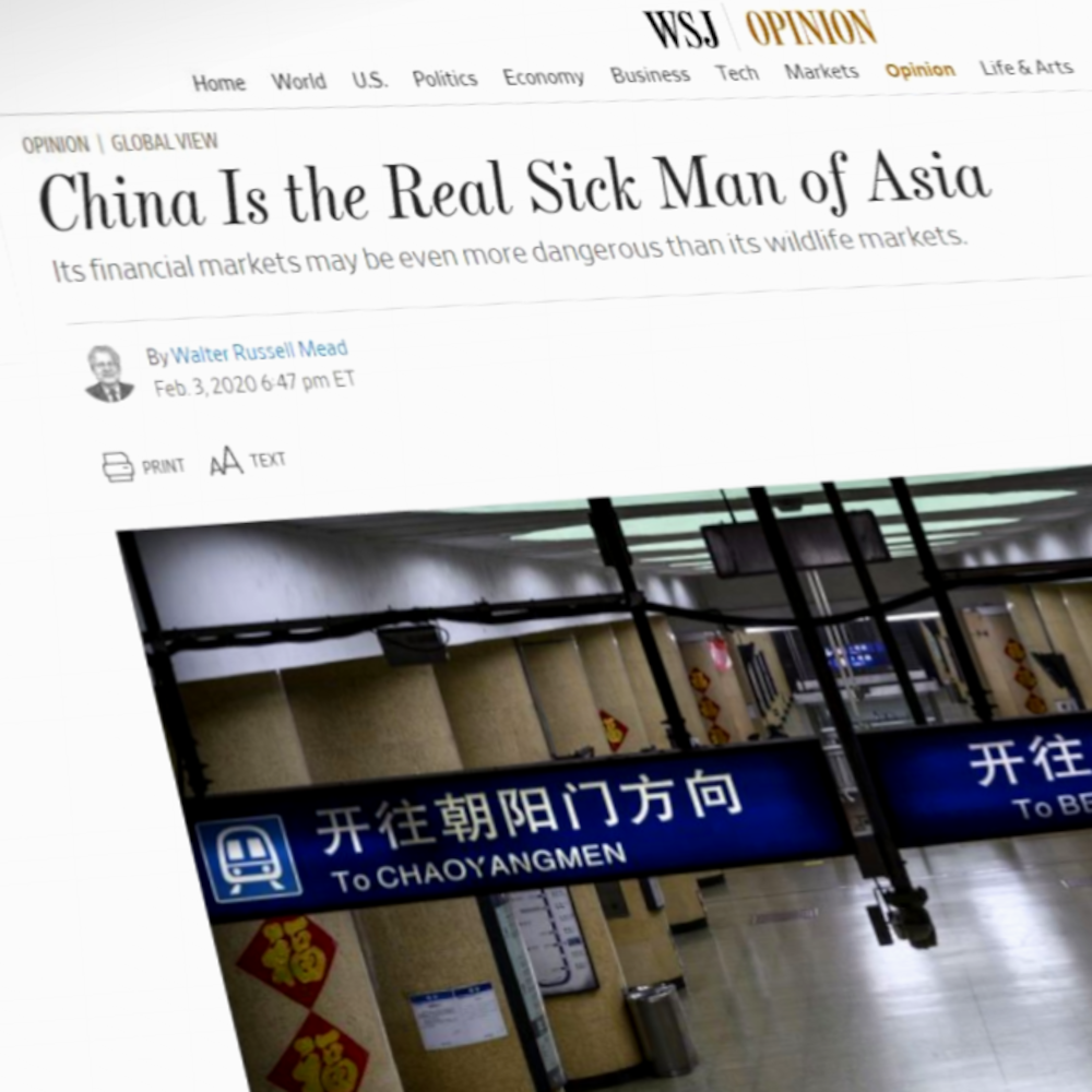 Une page web portant le titre « China Is the Real Sick Man of Asia ».