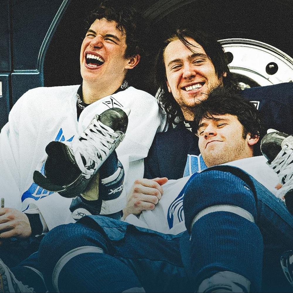 Sidney Crosby (gauche), Eric Neilson (droite, en haut) et Mario Scalzo, de l'Océanic de Rimouski, au printemps 2005
