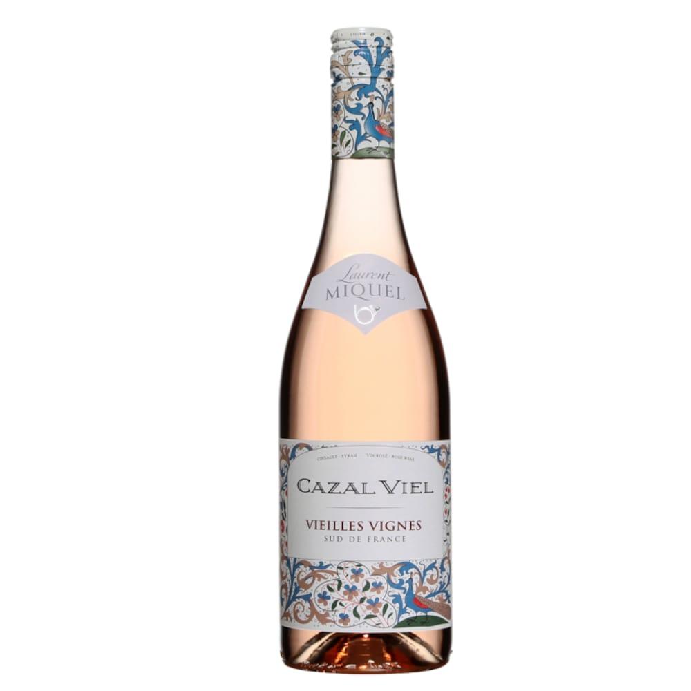 Bouteille de vin rosée avec une étiquette aux motifs de fleurs.
