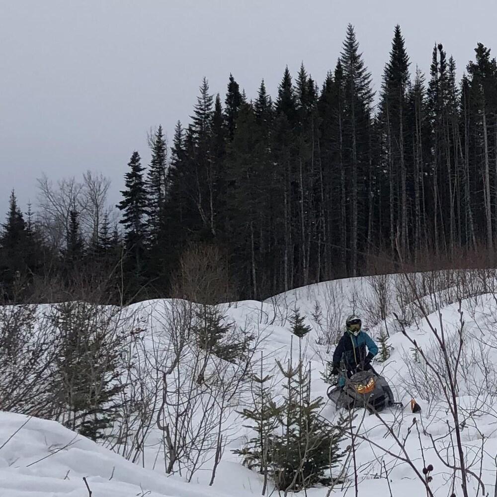 Donat Lebrasseur en motoneige dans le bois