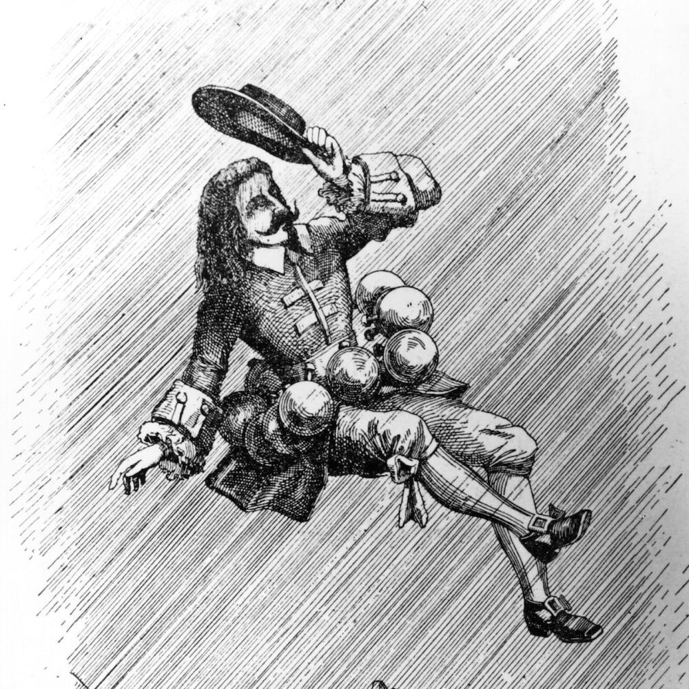 Dessin de 1687 illustrant Savinien de Cyrano de Bergerac en train de voler dans l'espace au moyen de fioles.