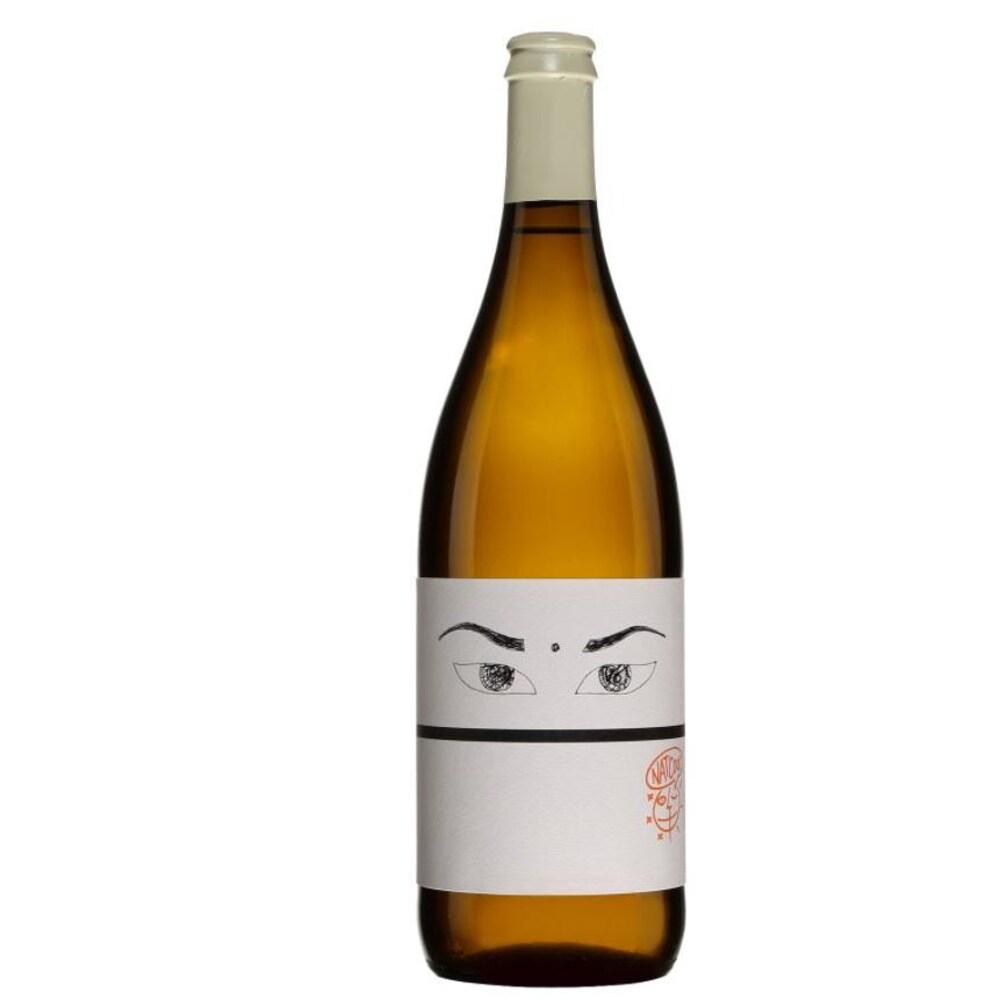 Bouteille de vin mousseux avec une étiquette qui représente des yeux.