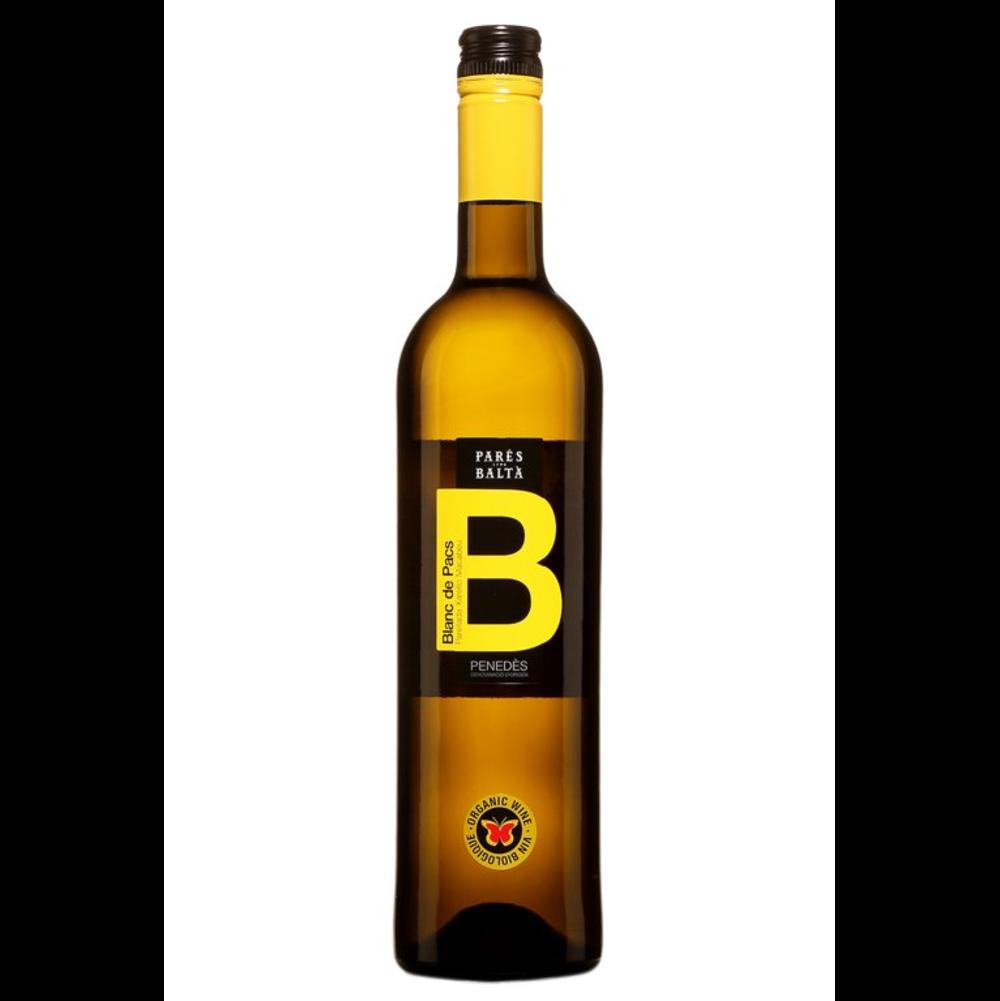 Bouteille fine et longue de couleur ambrée avec étiquette noire et la lettre b en majuscule jaune.