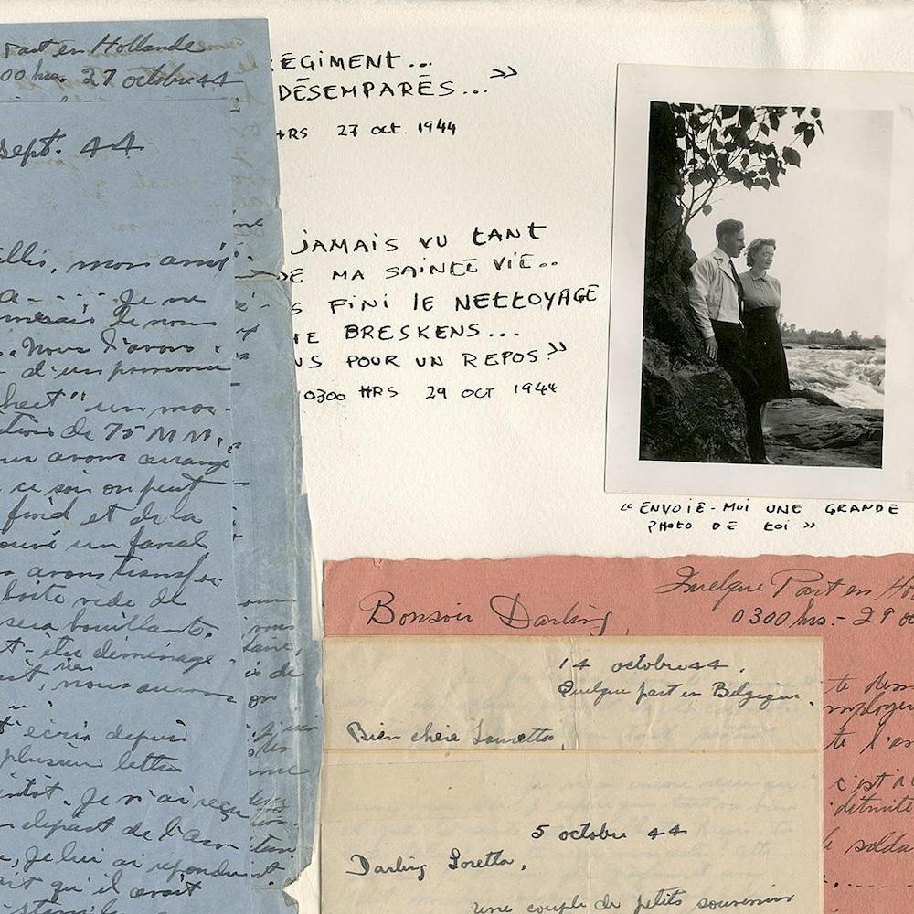 Un montage présentant des mots écrits à la main, des photos et des extraits d'albums photos.