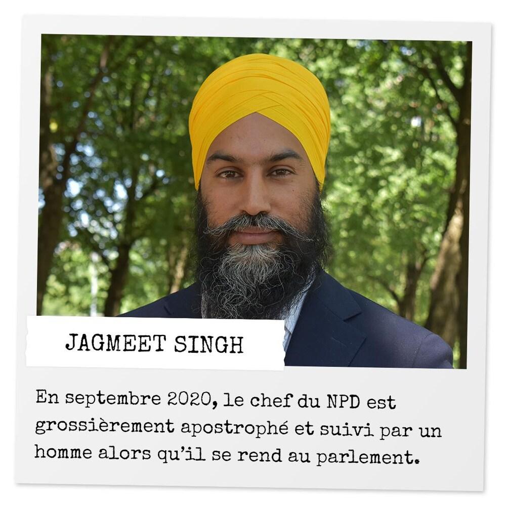 Une photo de Jagmeet Singh avec la mention : « En septembre 2020, le chef du NPD est grossièrement apostrophé et suivi par un homme alors qu'il se rend au parlement. »