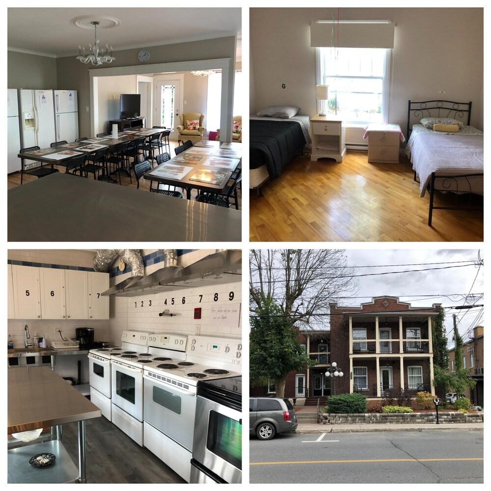 La salle à manger, la cuisine, une chambre et l'extérieur de la nouvelle résidence des Productions horticoles Demers.