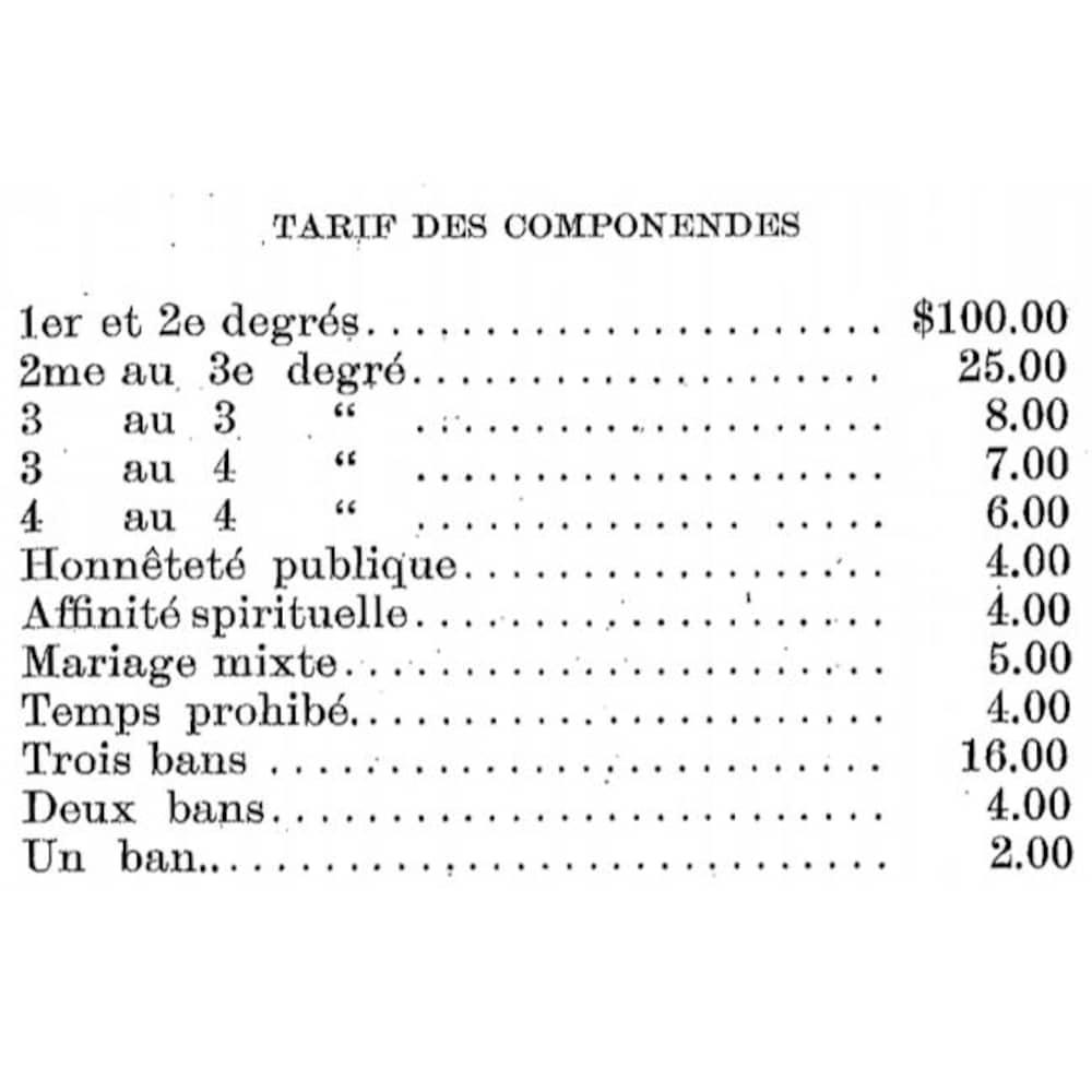 Tarifs des componendes pour obtenir une dispense d'empêchement de mariage avant la réforme opérée par le concile Vatican II.
