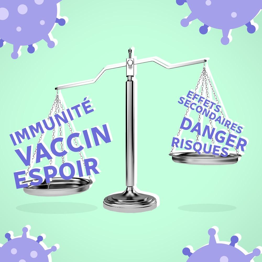 Illustration d'une balance où les mots immunité, vaccin et espoir semblent peser plus que les mots effets secondaires, danger et risques.