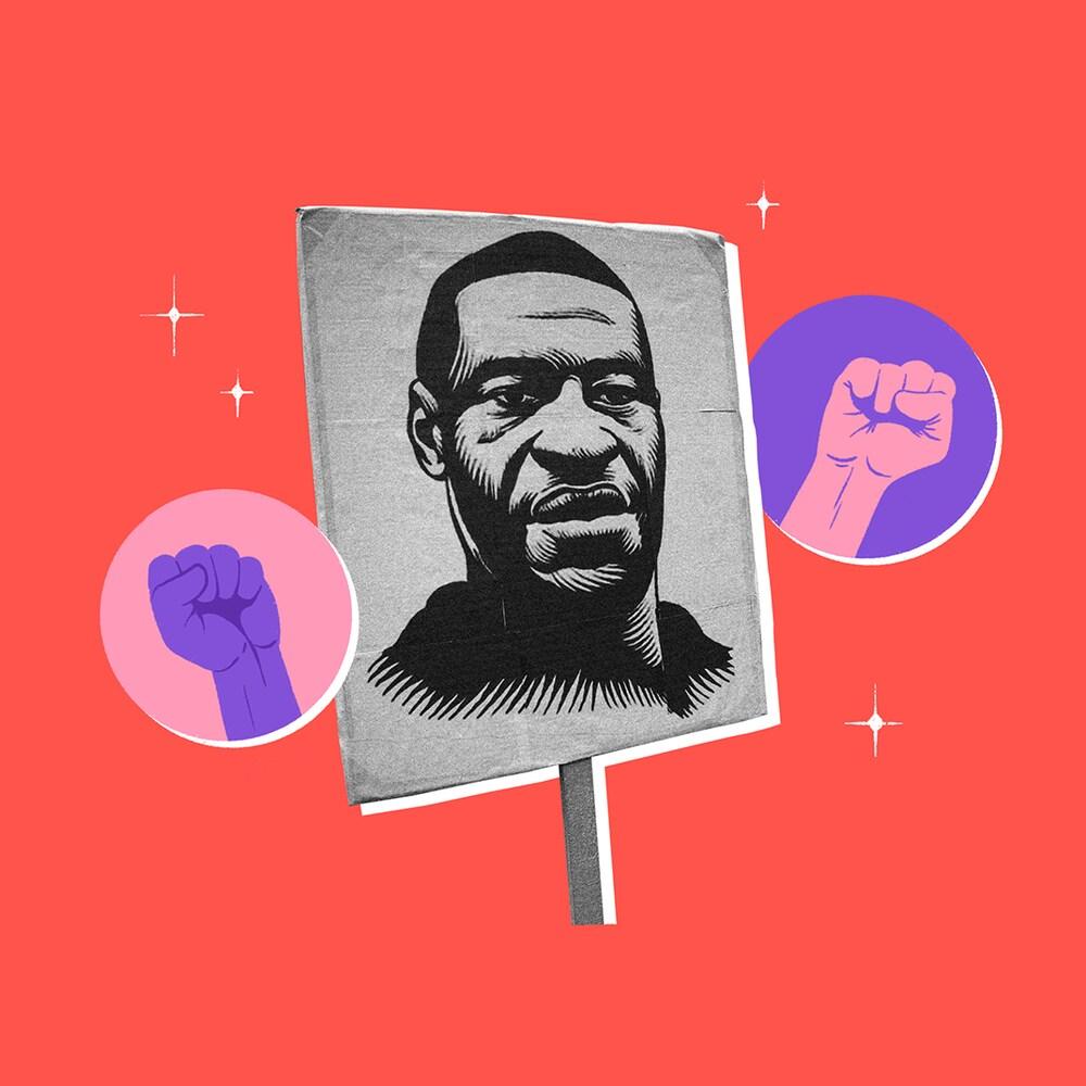 Illustration de George Floyd sur une pancarte avec des poings levés dans les airs.