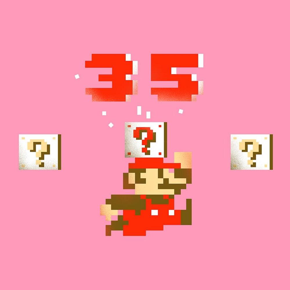 Collage visuel de Mario en train de sauter avec le chiffre 35 au-dessus de sa tête.