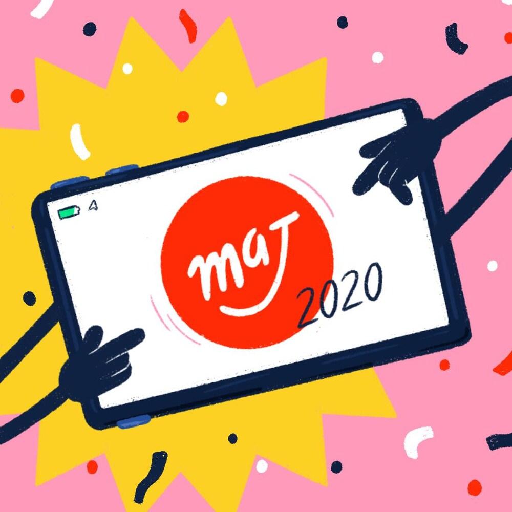 Illustration d'un téléphone mobile qui affiche le logo de MAJ et l'année 2020.