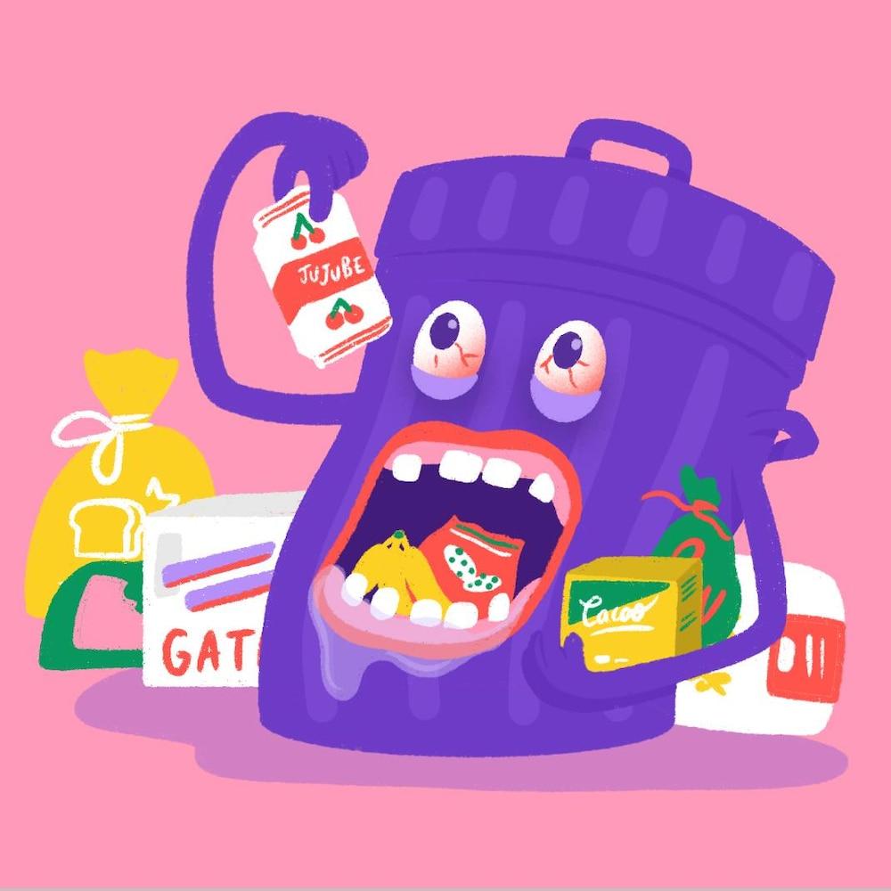 Illustration d'une poubelle affamée qui mange des déchets.