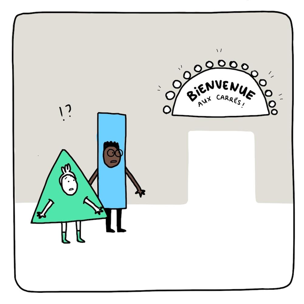 """Deux personnages avec une tête, des bras et des jambes d'humain se tiennent devant une porte en forme de carré. Le premier est en forme de triangle, le deuxième en forme de rectangle. Au-dessus de la porte se trouve une affiche qui dit """"Bienvenue aux carrés!"""" Un point d'exclamation et un point d'interrogation se trouvent au-dessus des personnages, qui affichent des airs surpris."""
