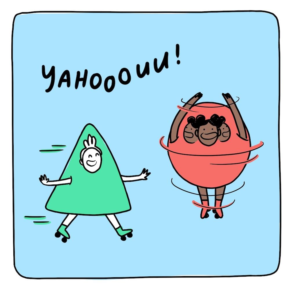 """Le personnage triangle patine vers l'avant. Le personnage boule tourne sur lui-même. On peut voir 3 fois sa tête pour illustrer son mouvement. Il est écrit """"Yahooouu!"""" en haut de l'image."""