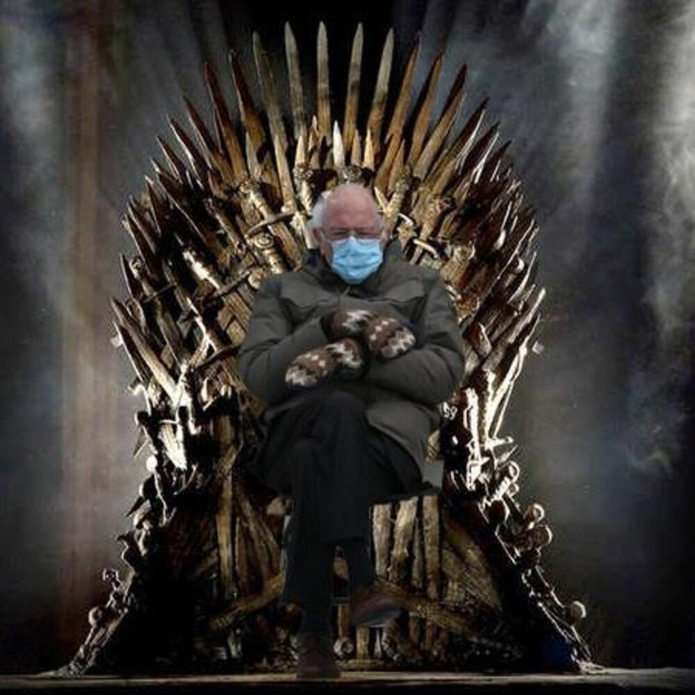 Montage visuel de Bernie Sanders assis sur le Trône de fer de la série « Game of Thrones ».