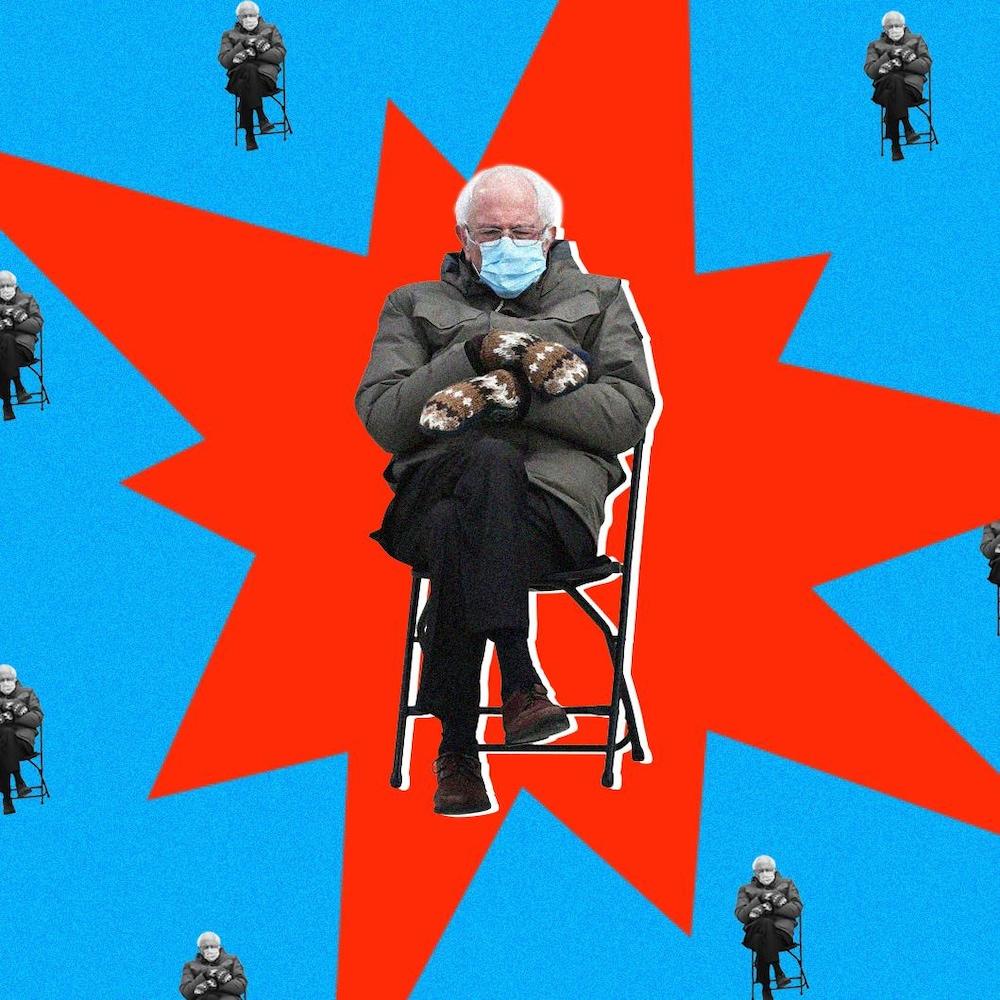 Montage visuel de Bernie Sanders entouré de plusieurs petits Bernie Sanders.