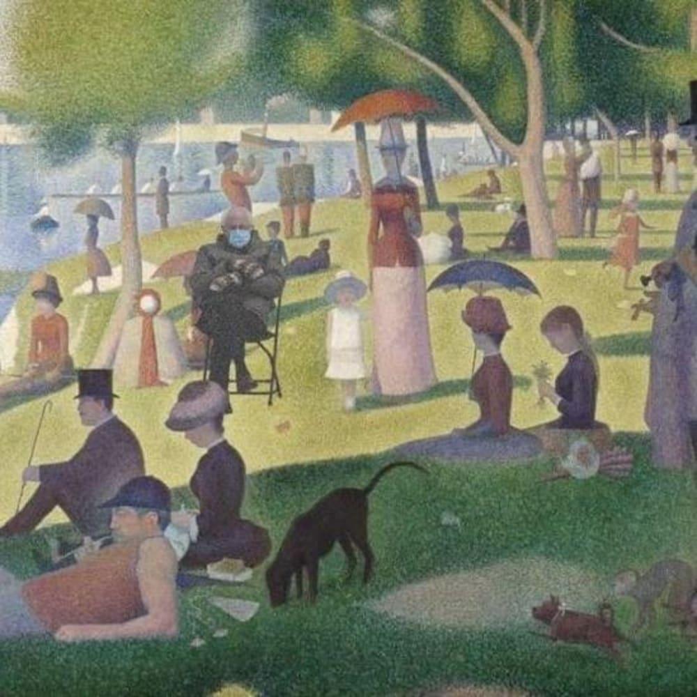 Montage visuel de Bernie Sanders dans le tableau « Un dimanche après-midi à l'île de la Grande Jatte » de Georges Seurat.
