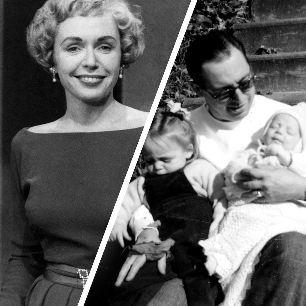 Un montage de deux photos : En 1958, l'animatrice Michelle Tisseyre, souriante. Et assis dans les marches, Pierre Tisseyre avec deux de ses enfants : Michelle et Charles.