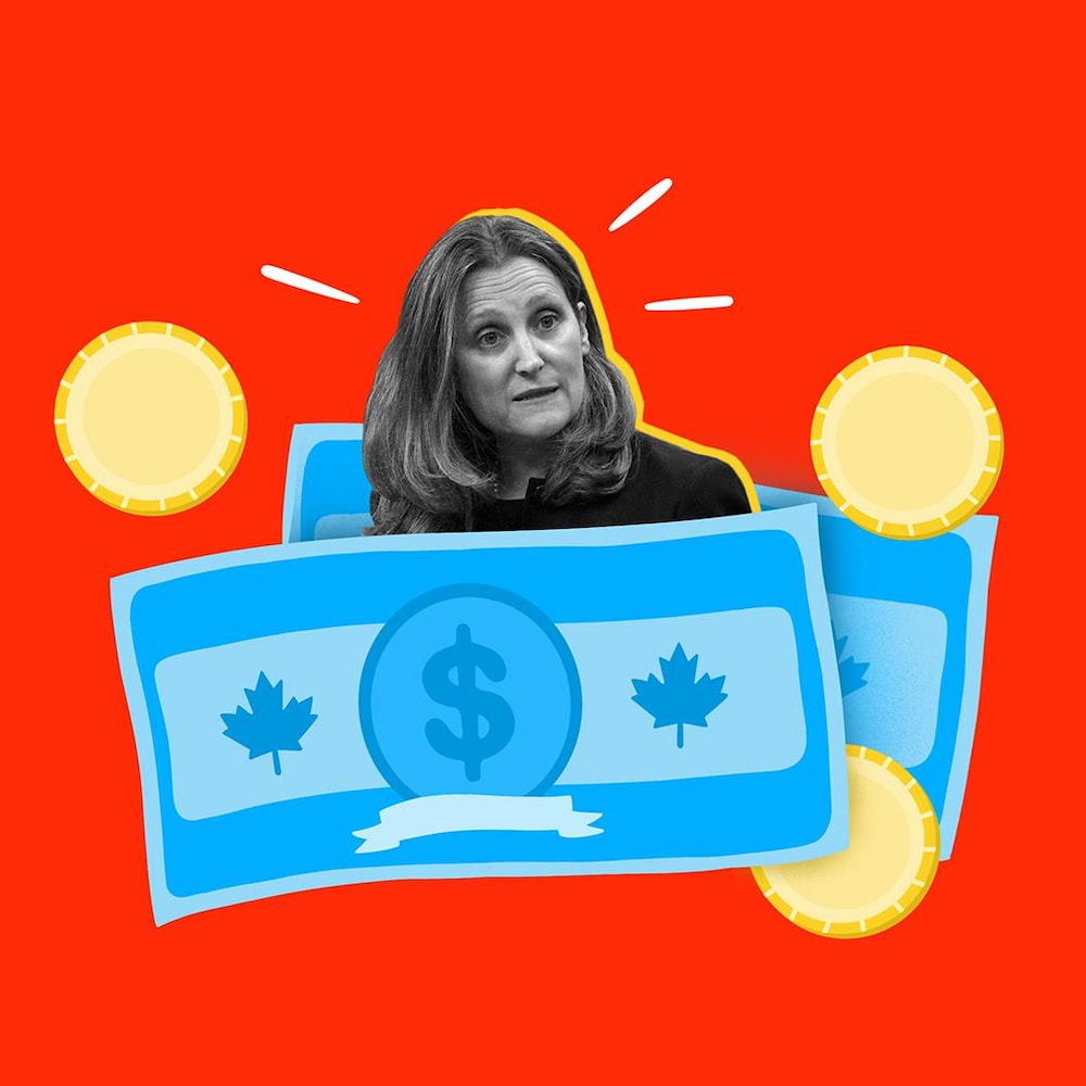 Collage visuel du visage de Chrystia Freeland entourée de billets canadiens.