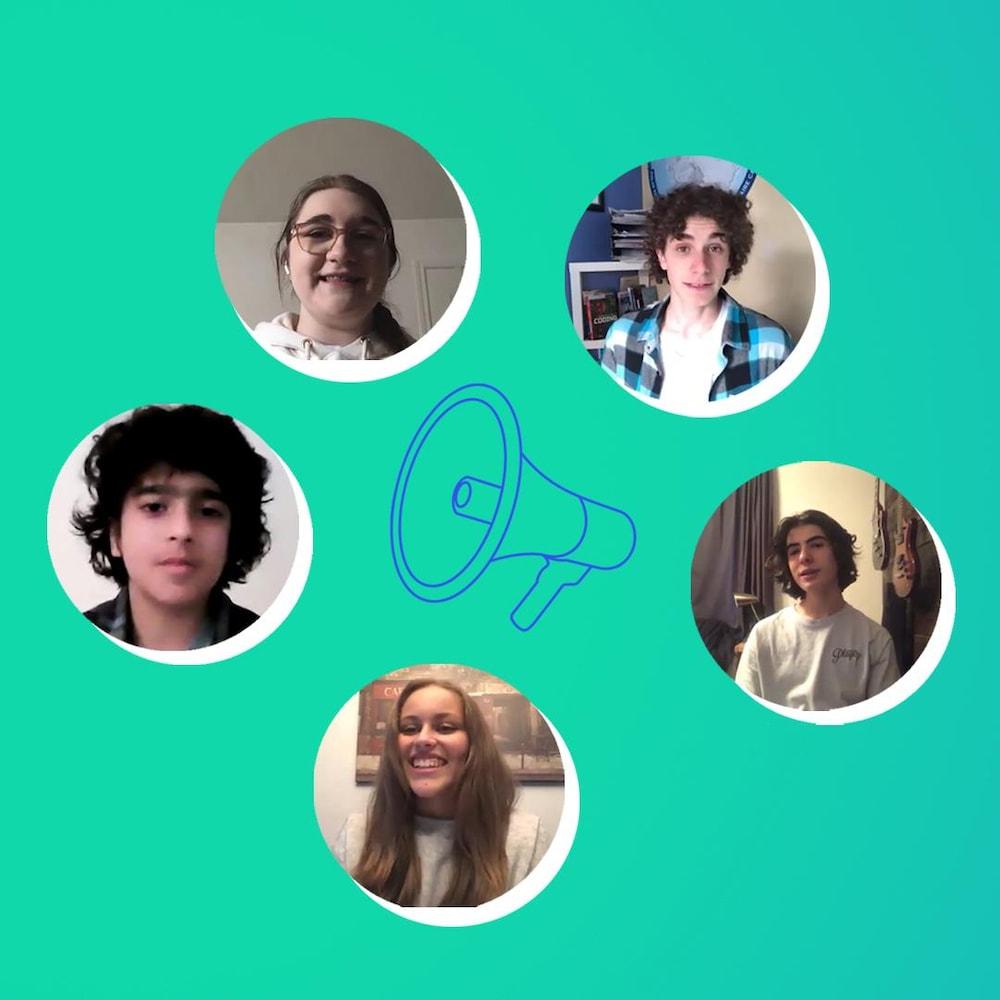 Miniature de la vidéo, les 5 jeunes orbitent autour d'un mégaphone.