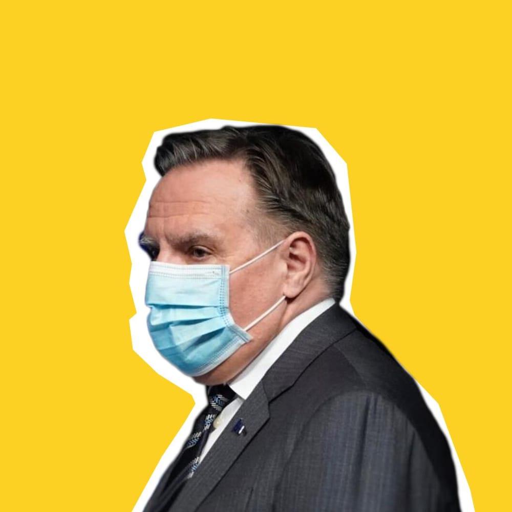 Montage visuel de François Legault portant un masque de protection.