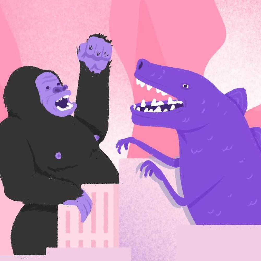 Illustration de King Kong et Godzilla en train de combattre.