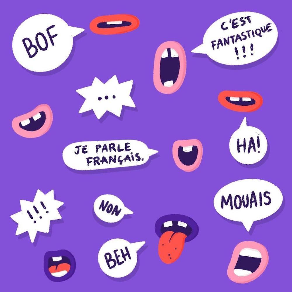 Illustrations de plusieurs bouches avec des phylactères dans lesquels sont écrits des mots français.