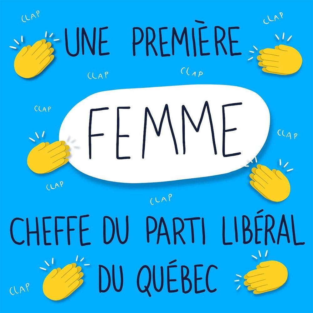 Une première femme cheffe du Parti libéral du Québec. Des mains applaudissent.