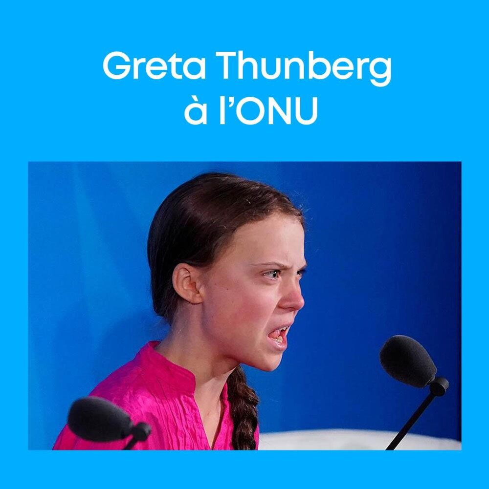 Greta Thunberg à l'Organisation des Nations Unies.