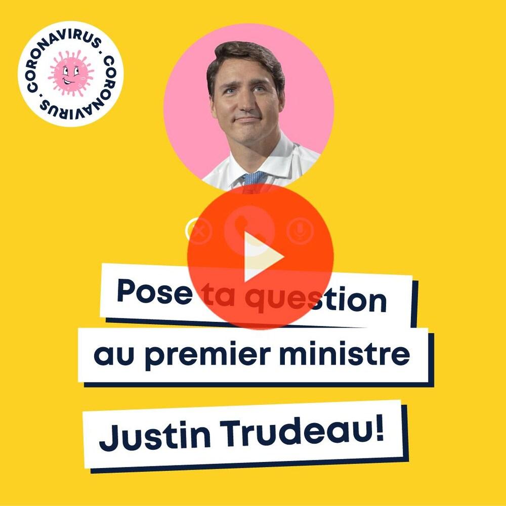Miniature de la vidéo. Texte : ''Justin Trudeau répond aux questions des jeunes sur la COVID-19''.