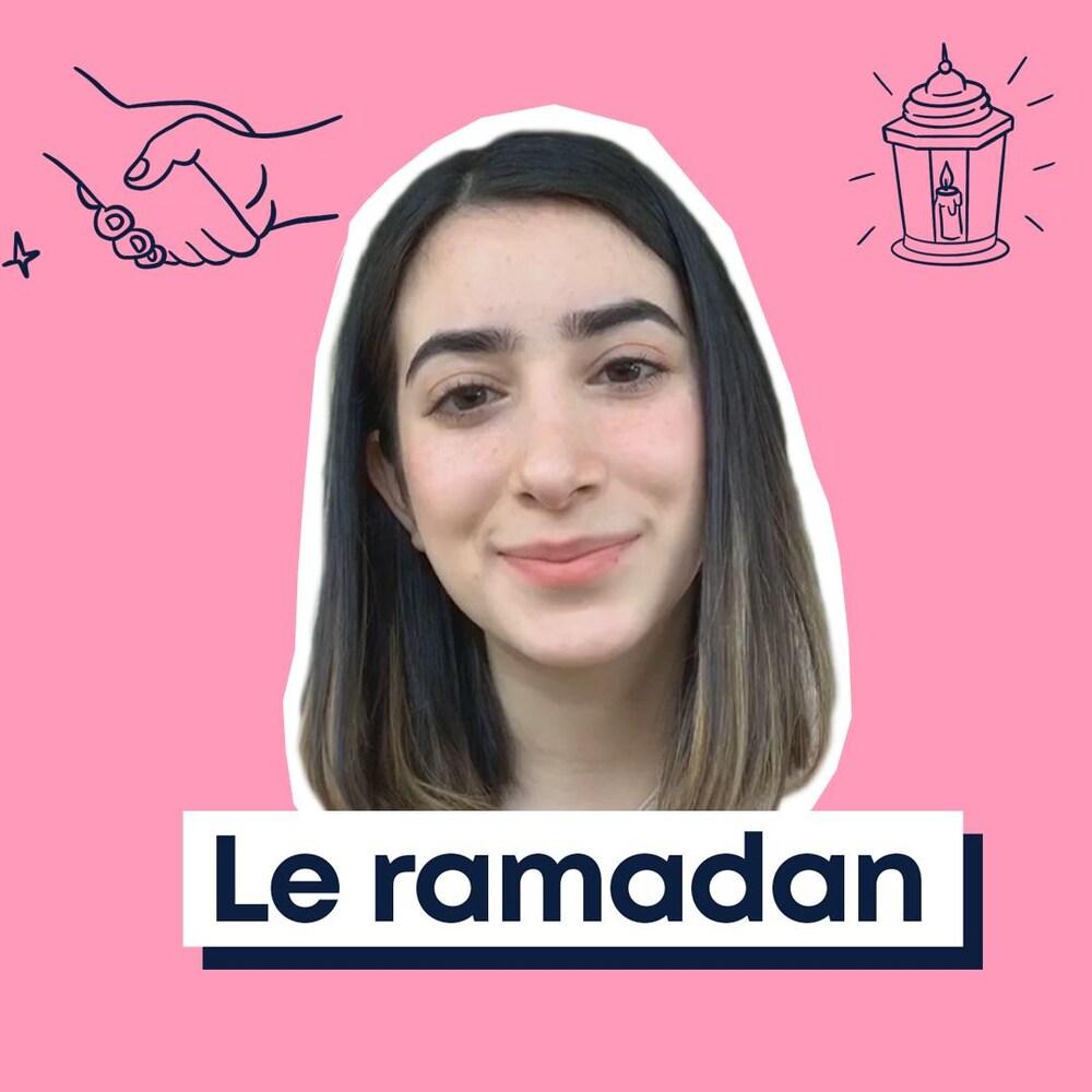 Miniature de la vidéo. Le visage de Rawane se trouve à côté d'une mosquée dessinée.