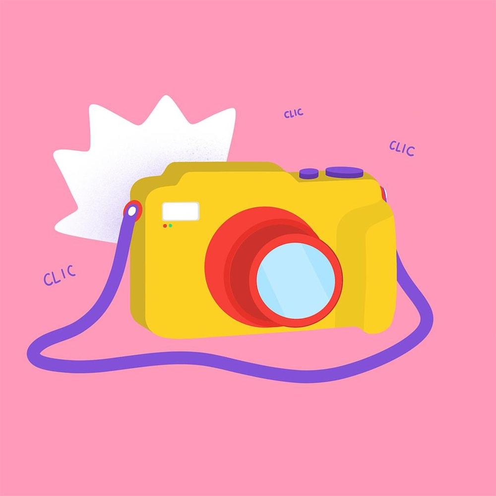 Illustration colorée d'un appareil photo.