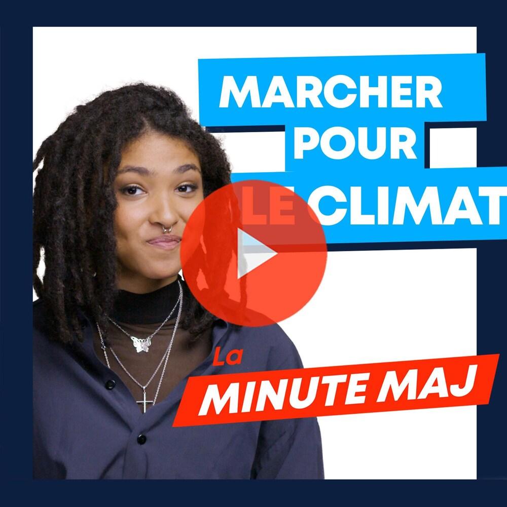 Zeneb Blanchet, avec un petit sourire pincé. Texte : «La minute MAJ, Marcher pour le climat.»