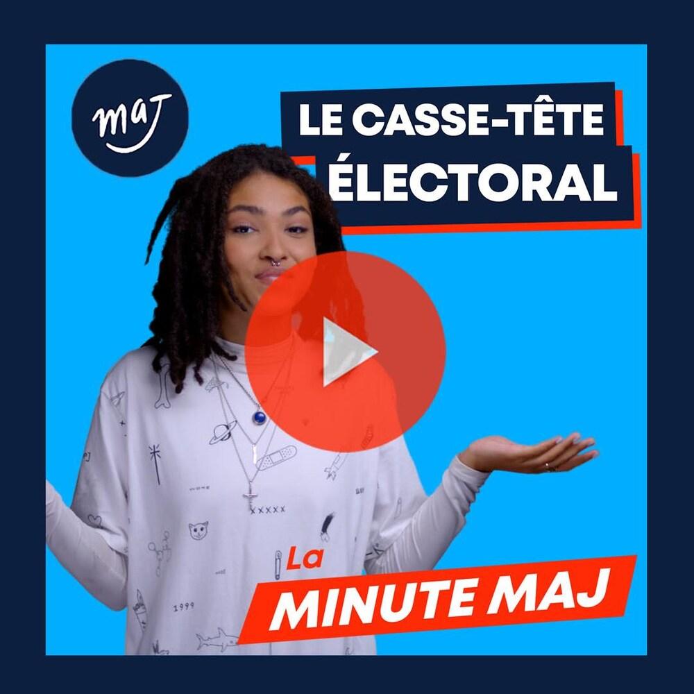 Zeneb, les deux mains a l'air, semble incertaine. Texte: «Le casse-tête électoral».