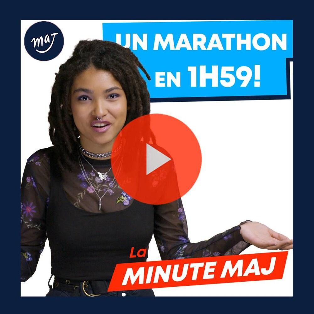 Zeneb avec un air de surprise. Texte : «un marathon en 1h59!»