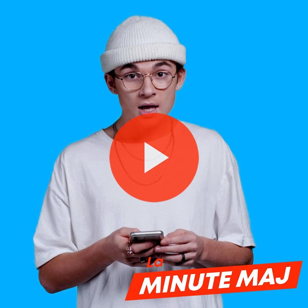 Titre : «La Minute MAJ : Des faux comptes». Sam-Éloi Girard, téléphone à la main, regarde vers nous d'un air ébahi.