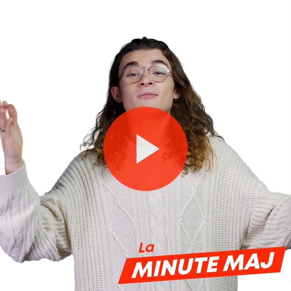 Miniature de la vidéo Minute MAJ. Titre : « Manifestations à Hong Kong ». Sam-Éloi Girard nous regarde avec les bras ouverts.