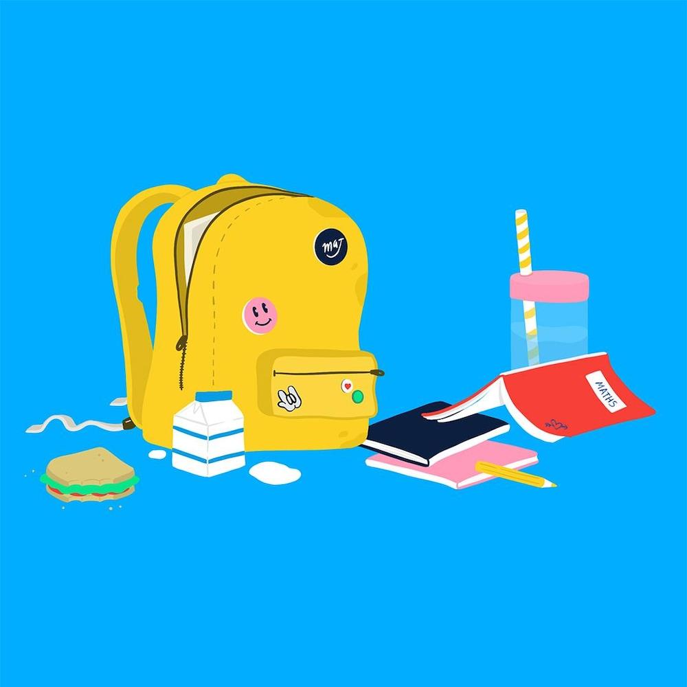 Dessin : un sac à dos, avec des cahiers scolaires, un sandwich et une brique de lait.