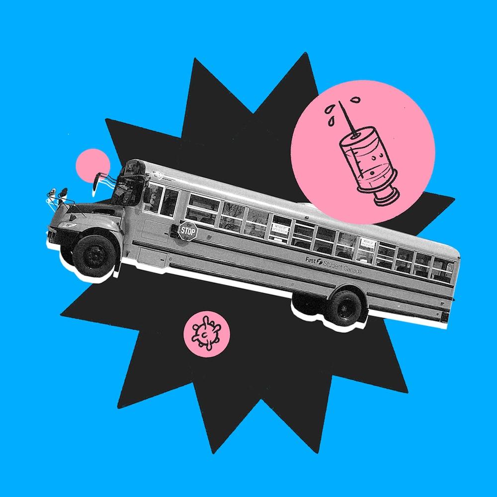 Montage photo d'un autobus aux côtés d'un vaccin de COVID-19.