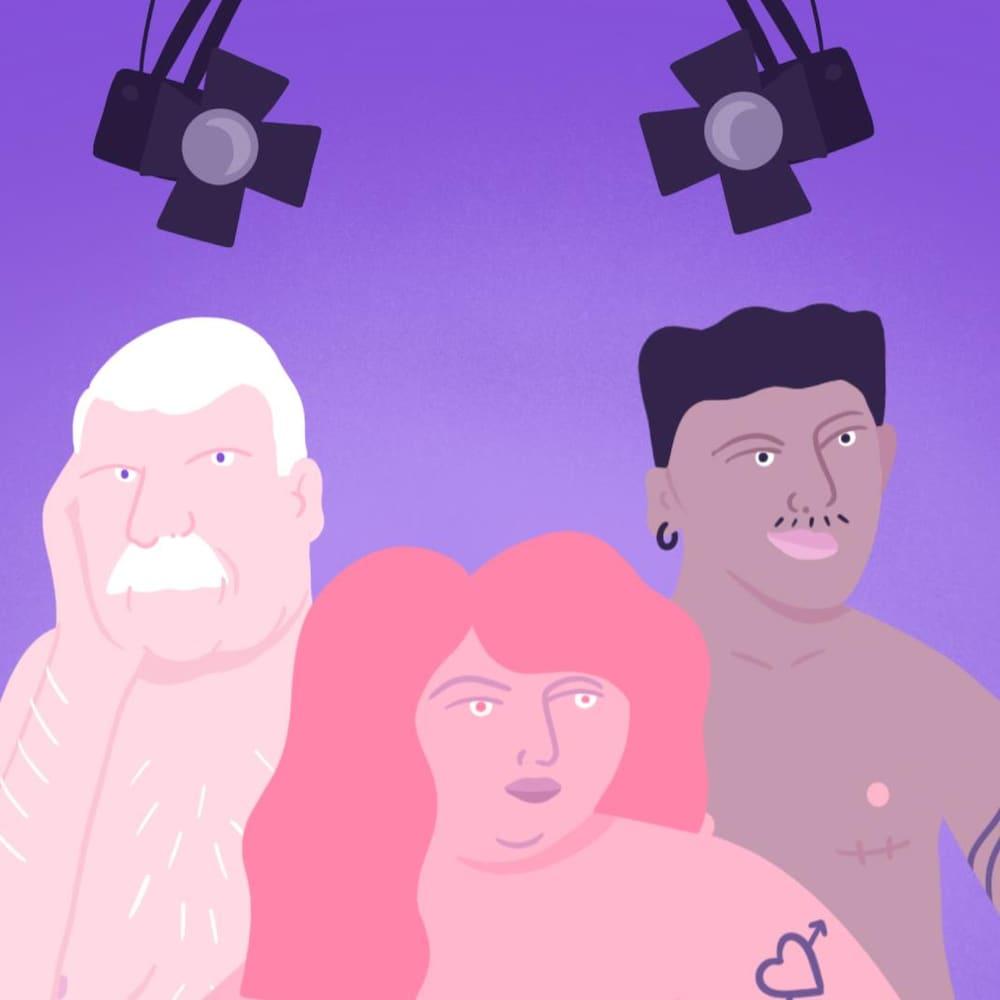 Illustration de gens nus qui prennent la pose sous des projecteurs.