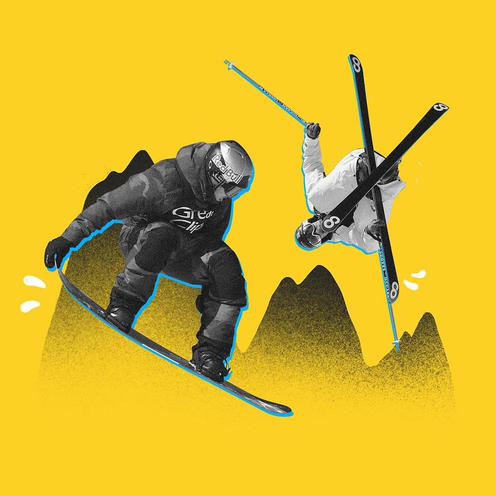 Découpage d'un planchiste et d'un skieur en plein saut devant un fond jaune.