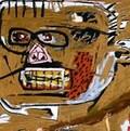Une toile de Jean-Michel Basquiat qui représente un visage.