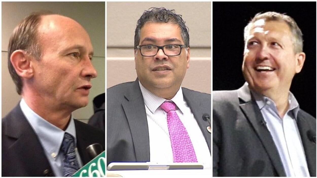 De g. à d. : Bill Smith, Naheed Nenshi, et Andre Chabot, candidats à la mairie de Calgary