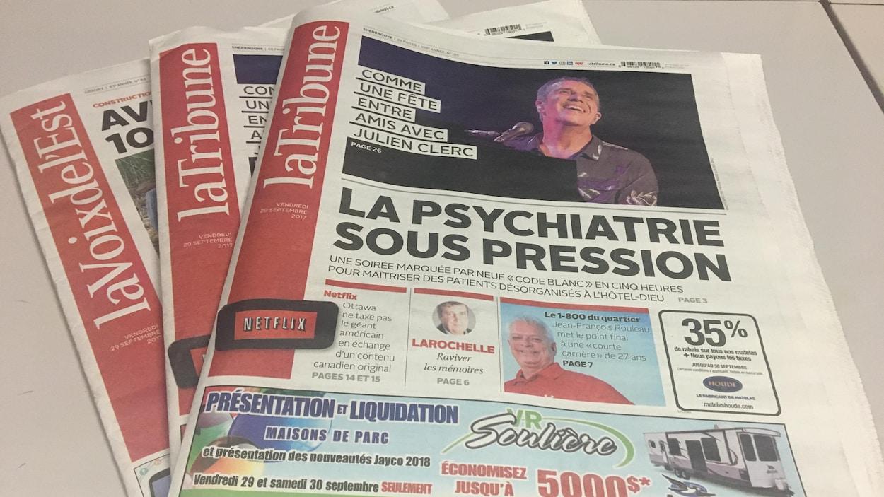 La Tribune et La Voix de l'Est, deux des six quotidiens du Groupe Capitales Médias
