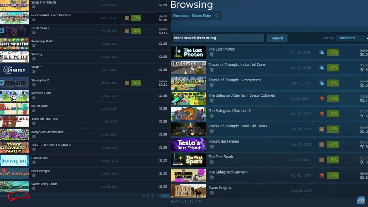 Des captures d'écran de la boutique en ligne Steam montrant des jeux publiés par Silicon Echo Studios et Zenitron.