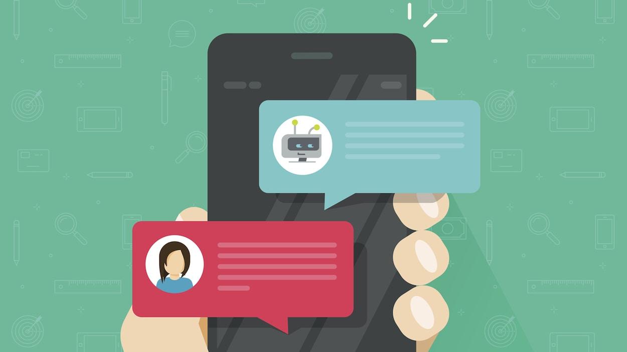 Interface mobile qui montre une conversation entre un robot et un humain.